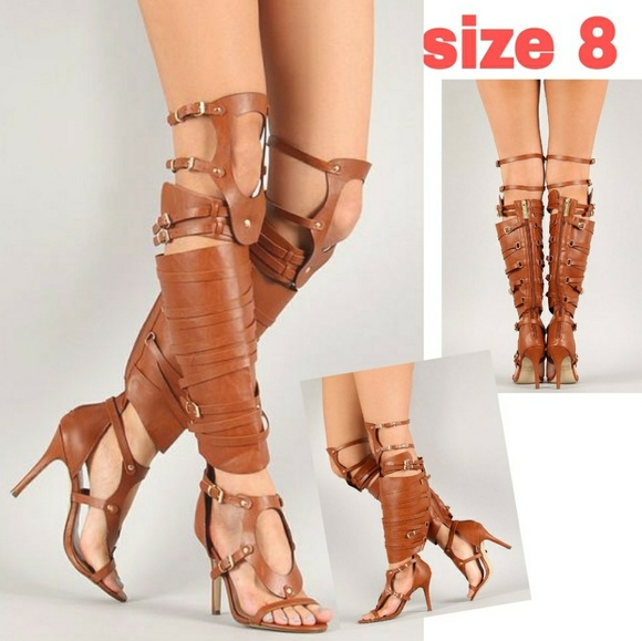 7a9d3eba31e8d Cut Out Strappy Knee High gladiator heels